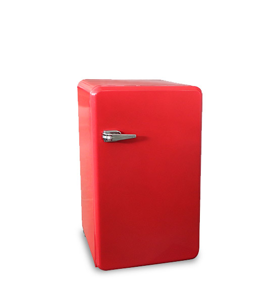 Red Stainless Steel Refrigerator With Fruit Box